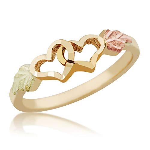 Mt.Rushmore 10k Black Hills Gold Double Heart Ring ()