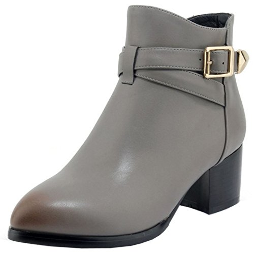 COOLCEPT Women Autumn Booties Zipper Gray-2 SURbu2rM