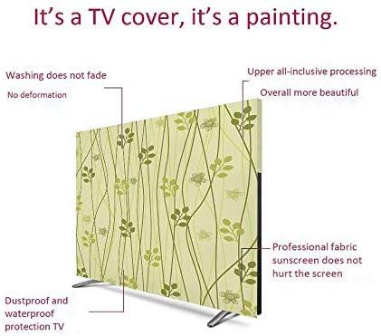 テレビカバー 防塵カバー 液晶テレビカバー 65インチのテレビに適用 防塵カバー - PC カバー ディスプレイ 葉 花の装飾アート オリーブと花のデザインモダンスタイルのパターン植物