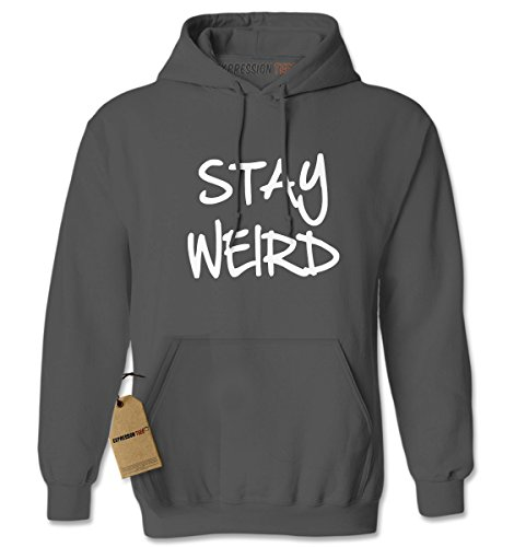 Expression Tees Hoodie Stay Weird Adult Large Charcoal Grey