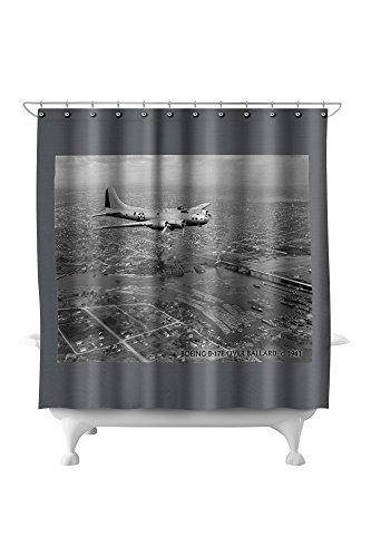 Seattle, WA - B-17F flying over Ballard (71x74 Polyester Shower Curtain) ()