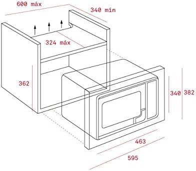 295/x 315/x 218/mm, 463/x 324/x 362/mm Teka MWE 225/Fi eingebaut 20L 800/W Edelstahl Mikrowelle