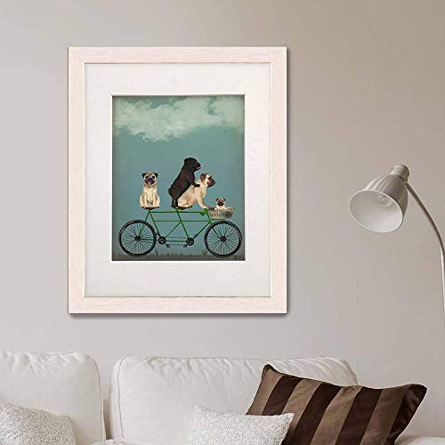 - Gift for Family Family Wall Art Ideas Unique Cycling Print Tandem Bicycle Dog Decor No-Frame ()