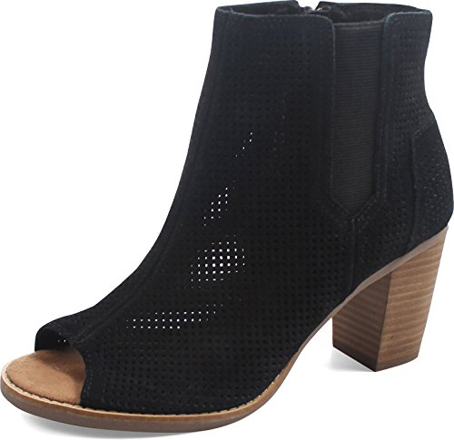 TOMS Women's Majorca Peep Toe Boot, Black Suede Perforated, 9.5 Medium ()