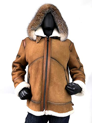 Mens Aviator Bomber B3 Shearling Sheepskin Leather Jacket Cognac Brown Natural Fox Fur Hood Regular and Big & Tall Sizes (2XL) ()