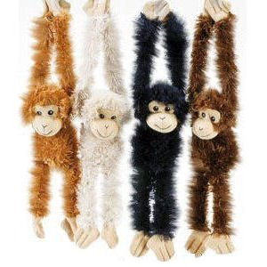 4 Premium Super Soft Large Hanging Monkeys with Velcro Hangs - Set Of 4 Assorted Natural Colored Plush Monkeys