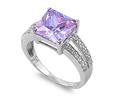 CloseoutWarehouse Princess Cut Center Lavender Cubic Zirconia Ring Sterling Silver Size 6
