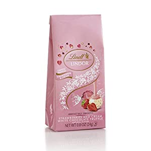 LINDOR Strawberries and Cream Chocolate Truffle Mini Bag, 0.8oz (Pack of 24)