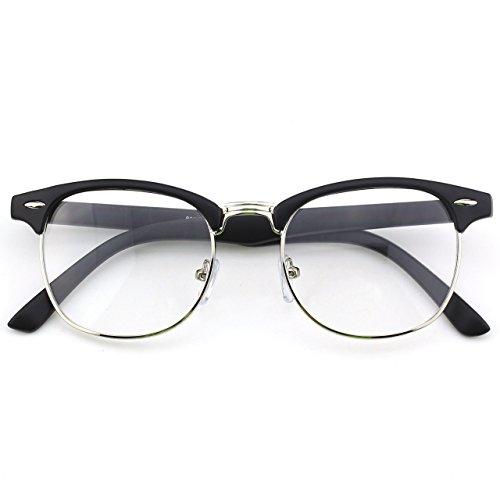 [Happy Store CN56 Vintage Inspired Horn Rimmed Nerd Wayfarers UV400 Clear Lens Glasses,Matte Black] (Cheap Nerd Glasses)