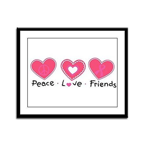 Framed Panel Print Cancer Peace Love Friends Pink Ribbon (Framed Cancer Panel)