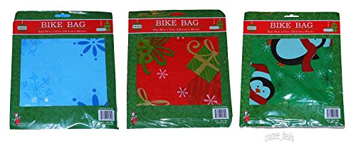 Lot Of 3 Christmas Bicycle Bike Jumbo Gift Bags W/Gift Tag 60