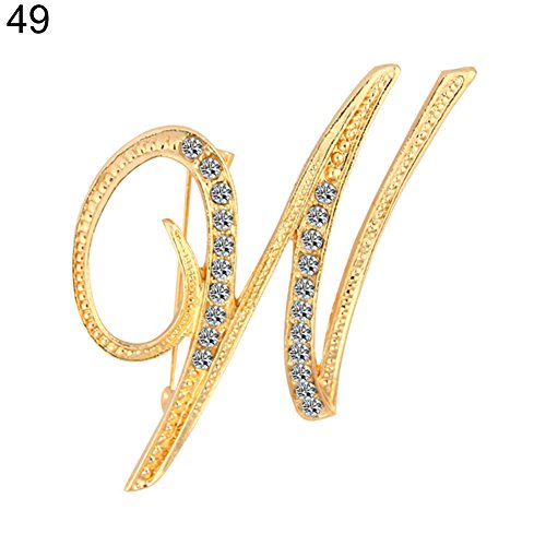 Aland 1 Pc Fashion Unisex Rhinestone English Letters Alphabet A-Z Brooch Pin Ornament Gold and Silver Rhinestones 26 English Letters Brooch Fashion Jewelry W Golden