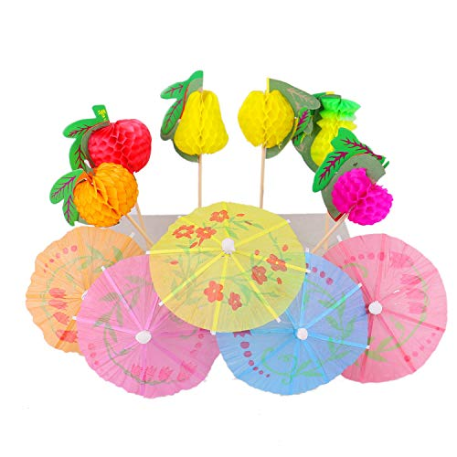 - Monrocco 30PCS Hawaiian Cocktail Drink Umbrellas Picks Beach Party Fruit Cupcake Toppers Picks Decoration Party Supplies