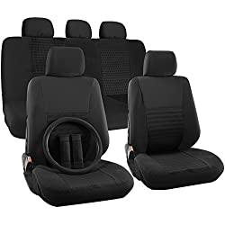 OxGord Auto Seat Covers, Steering Wheel Cover, Seat Belt Pads, and Shoulder Pads - (17 Piece Set) Flat Cloth Mesh - Universal Fit, Wide Stripe, Black