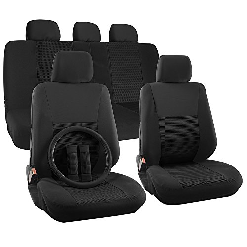 OxGord 17pc Set Flat Cloth Mesh Solid Black Wide Stripe Seat Covers Set - Airbag Compatible - Front Low Back Buckets - 50/50 or 60/40 Rear Split Bench - 5 Head Rests - Universal Fit + Steering Wheel Cover