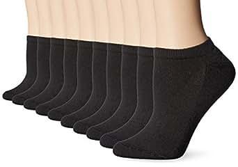 Hanes Women's No Show Sock, Black, Sock Size 9-11 Shoe Size 5-9