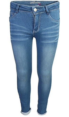 Girls Slim Straight Jean - WallFlower Girl's Skinny Soft Strech Jeans, Light Wash, Size 10'