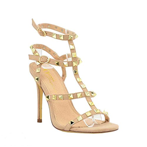 Women's Dress Sandal | Open Round Toe | Pyramid Studded | Ankle Strap Buckle | Stiletto Heel Gladiator Sandals (9, Camel)