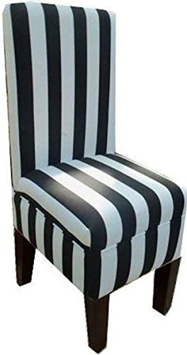 Set of 2 Black and White Striped Dining Vanity Chair