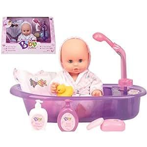 Bebé con bañera y accesorios