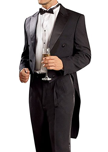 - JY Men's Black Tuxedo Groom Tailcoat Suit 2 Piece Formal Tuxedo Tails Suit