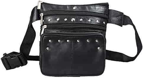 Leather Fanny Pack Black Leather Waist Bag By Bayfield Bags-Clip Pouch Hip Bag For Women & Men