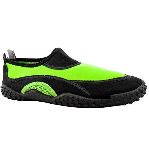 The Wave Womens Water Shoes Pool Beach Aqua Socks Yoga Exercise Trends SNJ Black Green-L ChRbc9s2Q