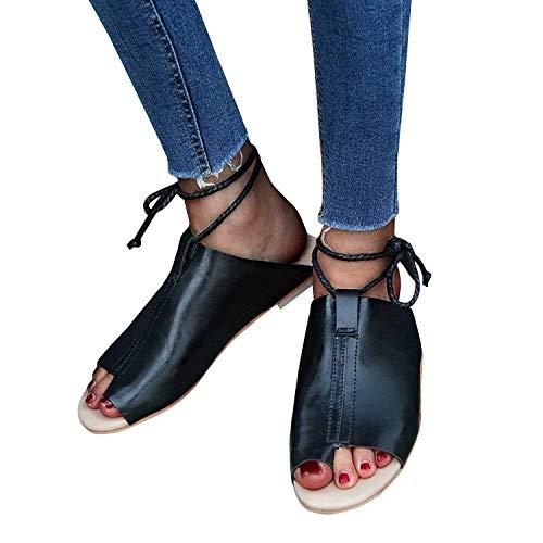 Chaussures Lacets C Femme Ouverts Noir Mode Tongs Femmes Été Sandales Sandales Plat Plates Bouts Sandales Minetom Pq1fwS1