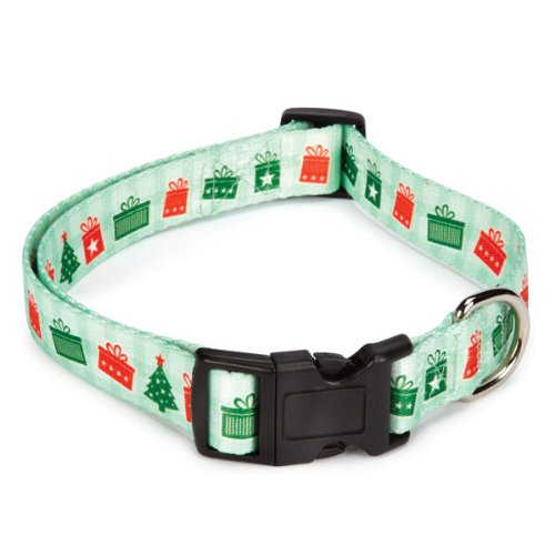 Casual Canine Polyester Holly Jolly Dog Collar and Lead Set, 10 to 16-Inch, Presents