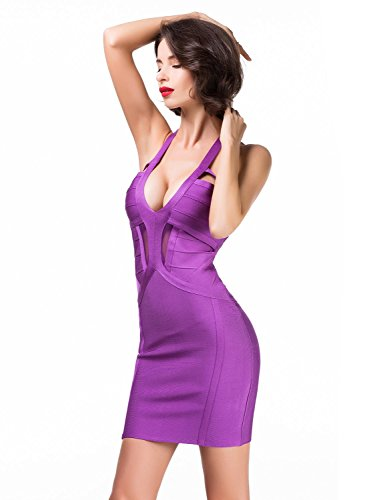 Bandage Corte para Rayon Celebrity Mujer Elmer Bajo Club Bodycon Party Vestido Vestido Alice Mujers Purple Mangas amp; Dress Honda Sin wPFTFq