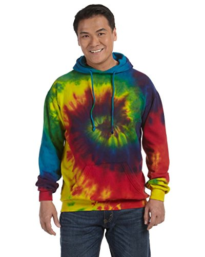 100% Cotton Tie-Dyed Hoodie, 8.5 Ounce - Reactive Rainbow in Size Small