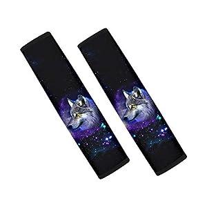 Coloranimal 2 Piece Set Galaxy Wolf Car Seat Cover Interior Decor Safety Seatbelt Pads for Adukts Children for Sedan,Van…