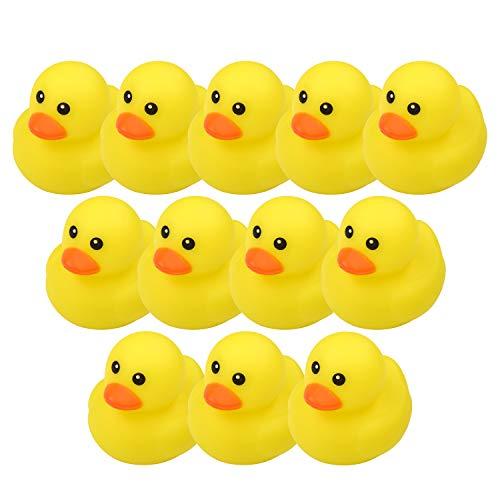 Moogogo Mini Yellow Rubber Bath Ducks for Kids, Rubber Duck Bathtub Toy Baby Shower Birthday Party Favors Set of 12 (12PCS-01)