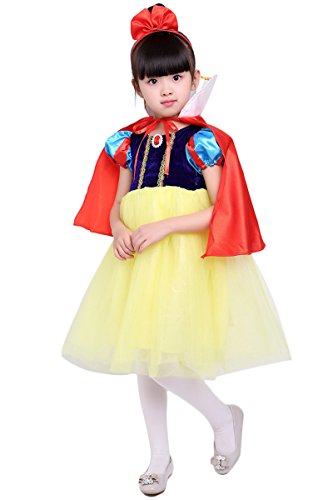 [YMING Girls Snow White Dress Costume Halloween Cosplay Princess Dress 7-8 Years] (Vintage Halloween Costumes From The 80s)