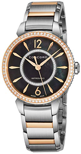 - Concord Impresario Womens Stainless Steel Diamond Swiss Quartz Watch - 32mm Black Mother of Pearl Dial and Sapphire Crystal - Swiss Made Classic Analog Ladies Dress Watch 0320336