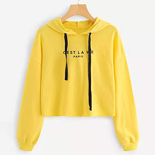Makeupstore Sweatshirts for Women Full Zip,Womens Letters Long Sleeve Hoodie Sweatshirt Pullover Tops Blouse,Jackets & Vests,Yellow,M ()