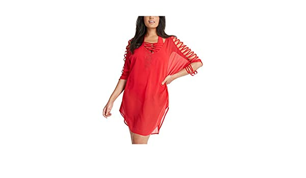 fe6dcf1734798 Amazon.com: Figleaves Curve Womens Knotted Kaftan Size 20-22 in Red:  Clothing