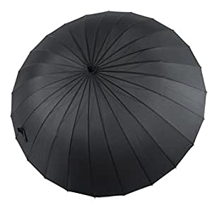 LYYUMBRELLAS 24 Hombres Huesos Paraguas de Negocios Largo Mango Aumento de Paraguas Soleado a Prueba de Viento de Color sólido de Mango Recto de Paraguas (Color : Negro)