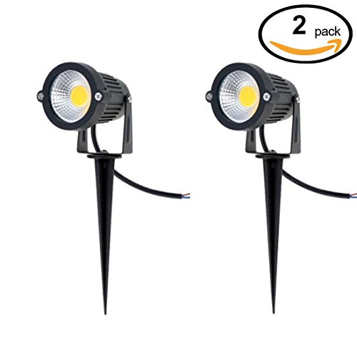 Waterproof DC 12V COB 5W Outdoor LED Decorative Lamp Lighting Landscape Garden Wall Yard Path Light with Stand | Warm White 3000K,Pack of 2