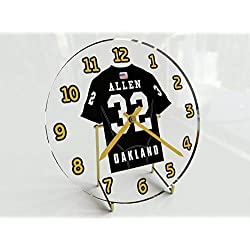 Football Team Desktop/Shelf Clocks - All N F L Colors Available - Size 7 X 7 X 2 Any Name Any Number Any Team !! (O A K Edition)