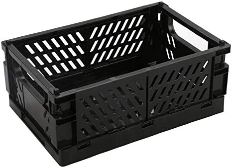 BAREGO Cajas Cesta de Almacenamiento Plegables de Plástico (Negro, Medio): Amazon.es: Hogar
