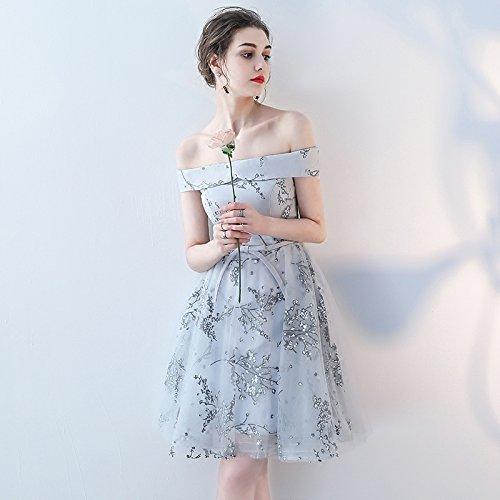 Sommer Hochzeitskleid des Brautjunferschwesternrock Wortschulterabendkleid Kurzen Brautjunferkleid MoMo grau Absatzes wxOgnft0