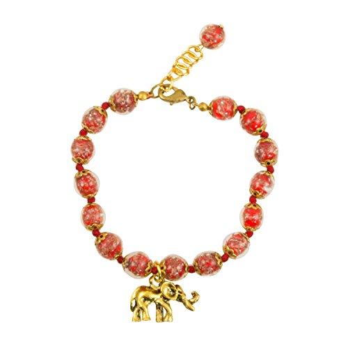 Genuine Venice Murano Sommerso Aventurina Red Glass Bead Strand Bracelet with Elephant, 8+1