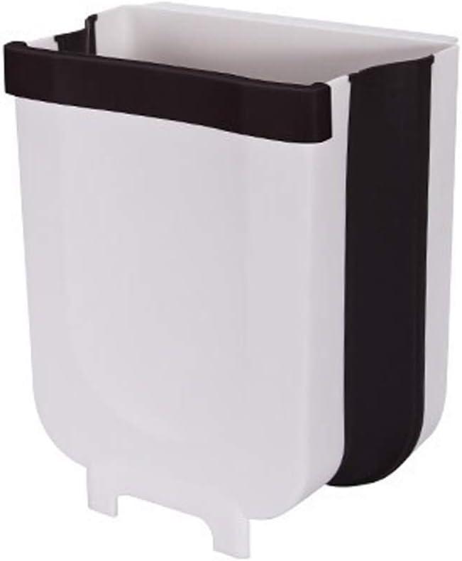 Creative Wall Mounted Folding Waste Bin Hanging Food Waste Bin Kitchen Garbage Trashcan Storage Bucket, for Sinkside Bathroom Toilet Car (White)