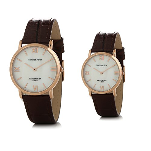 Timesshine Classic Ultrathin His and Hers Brown Genuine Leather Band Quartz Watches For Couple lovers by Timesshine