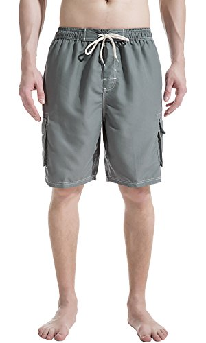 Grey Swim Trunks - Akula Comfort Mens Swim Trunks with Mesh Lining Swimming Board Short Grey Size M