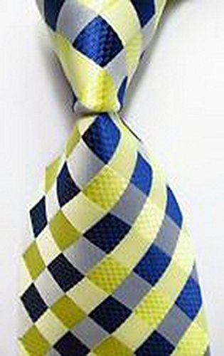 MINDoNG Daily Checks Blue Yellow JACQUARD WOVEN Silk Men's Tie Necktie GAG # 36