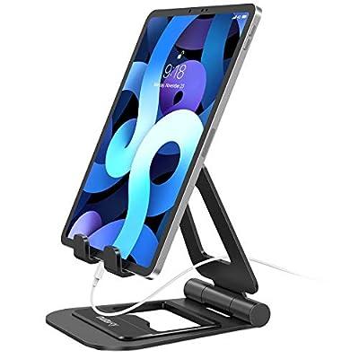 Nulaxy Supporto Tablet, Alluminio Supporto per iPad Pieghevole e Regolabile, Porta Cellulare da Tavolo per iPad PRO 12.9, 10.5, 9.7, Air Mini 2 3 4, iPhone, Switch, Samsung Tab (4.7″-13″)- Nero