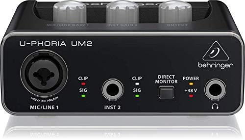 BEHRINGER Audio Interface, 1x XLR/TRS 1x 1/4'' 2X RCA USB, Black, 1-Channel (UM2) by Behringer