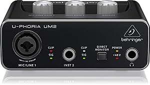 "BEHRINGER Audio Interface, 1x XLR/TRS 1x 1/4"" 2X RCA USB, Black, 1-Channel (UM2)"